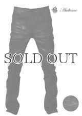 黒×黒国内樹脂加工タイトフィットストレートデニムパンツ 【送料無料】 / Audience
