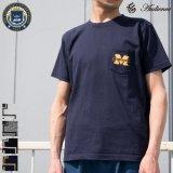 "University of Michigan ""M"" 7.1oz米綿丸胴オールドプリントクルーネックポケットT / Audience"