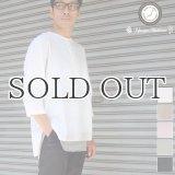 綿麻ツイル ノーカラープルオーバーコンチョボタン 7分袖 オーバーサイズシャツ【MADE IN JAPAN】『日本製』/ Upscape Audience