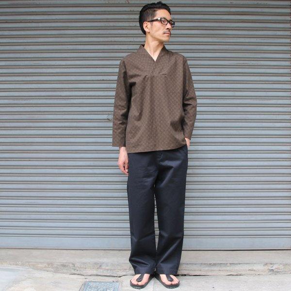 画像2: コットンクロス小紋柄キモノVネックプルオーバー9分袖_Shirts【MADE IN JAPAN】『日本製』/ Upscape Audience