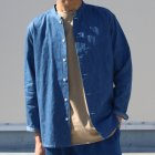 More photos3: 麻混デニムマオカラー9分袖 ライト_Jacket【MADE IN JAPAN】『日本製』/ Upscape Audience