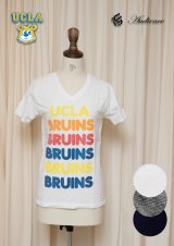 "【RE PRICE / 価格改定】 UCLA""BRUINS""コットン/三素材混カレッジプリント半袖VネックTシャツ [Lady's] / Audience"