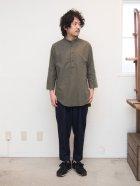 More photos3: ソフトリネンコットンスタンドカラープルオーバー7分袖シャツ【MADE IN JAPAN】『日本製』/ Upscape Audience