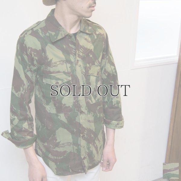 画像1: ポルトガル軍70sリザードカモヘリンボーンフィールドシャツ / デッドストック