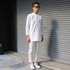 More photos3: 【RE PRICE/価格改定】ソフトリネンキャンバスプルオーバーシャツバンドカラーオーバーサイズ9Sシャツ【MADE IN JAPAN】『日本製』/ Upscape Audience