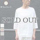 綿麻ツイル ヘムラウンド サドルショルダー7/SオーバーサイズシャツTEE【MADE IN JAPAN】『日本製』/ Upscape Audience