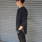More photos2: 綿麻ツイル ノーカラープルオーバーコンチョボタン 7分袖 オーバーサイズシャツ【MADE IN JAPAN】『日本製』/ Upscape Audience
