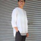 More photos1: 綿麻ツイル ノーカラープルオーバーコンチョボタン 7分袖 オーバーサイズシャツ【MADE IN JAPAN】『日本製』/ Upscape Audience