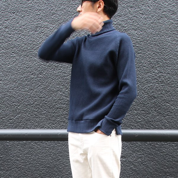 画像2: ビックワッフルサドルショルダータートルネックニット【MADE IN JAPAN】『日本製』 / Upscape Audience