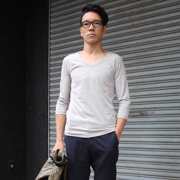 画像2: ガラガラ紡Vネック7分袖カットソー【MADE IN JAPAN】『日本製』/ Upscape Audience