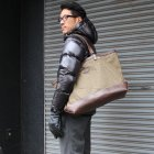 More photos1: デッドストックレインカモテント生地×Leather Travel Tote Bag 【送料無料】 / Upscape Audience VASCO