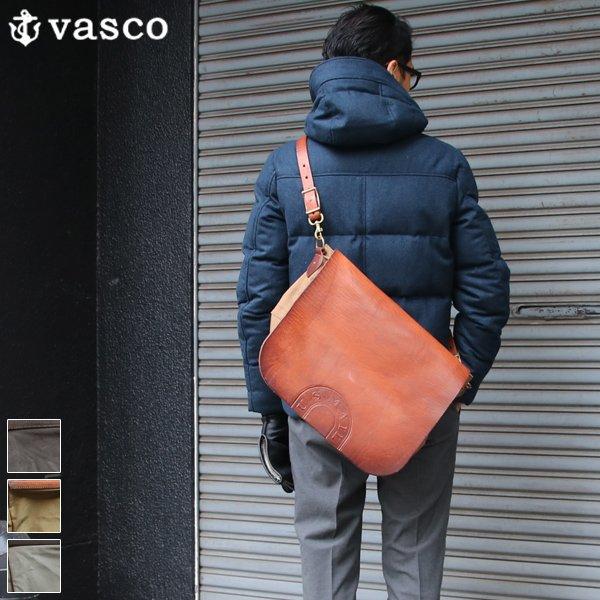 画像1: キャンバス×レザー メールバッグ【MADE IN JAPAN】『日本製』【送料無料】  / vasco
