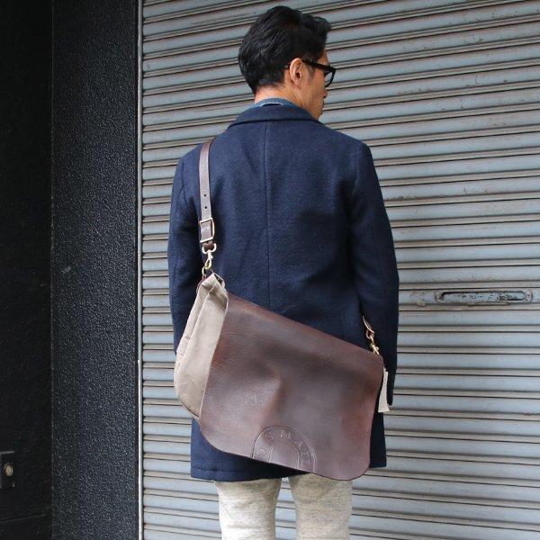 画像2: キャンバス×レザー メールバッグ【MADE IN JAPAN】『日本製』【送料無料】  / vasco