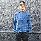 More photos3: ワイドスプレッドボタンダウンカラーインディゴネルチェック長袖シャツ【MADE IN JAPAN】『日本製』  / Upscape Audience