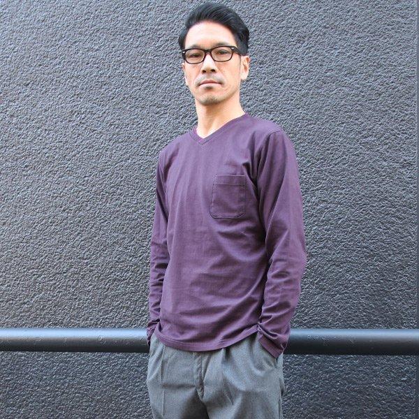 画像2: コーマ天竺 2TONE Vネック ポケ付き L/S Tee【MADE IN JAPAN】『日本製』/ Upscape Audience