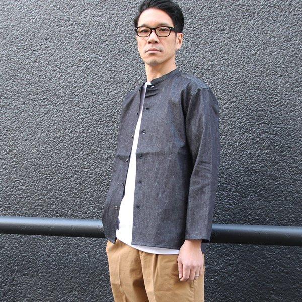 画像2: 麻混デニムマオカラー9分袖 ライト_Jacket【MADE IN JAPAN】『日本製』/ Upscape Audience