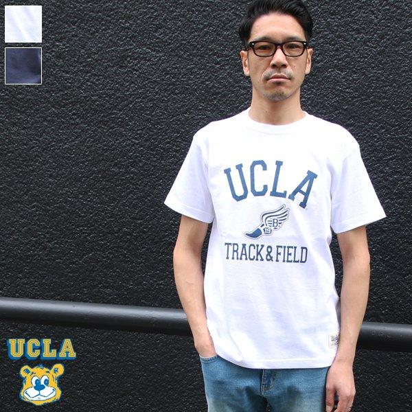 """画像1: 6.2oz丸胴UCLA""""T&F""""オールドプリントTEE / Audience"""