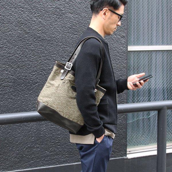 画像2: デッドストックレインカモテント生地×Leather Travel Mini Tote Bag 【送料無料】 / Upscape Audience VASCO