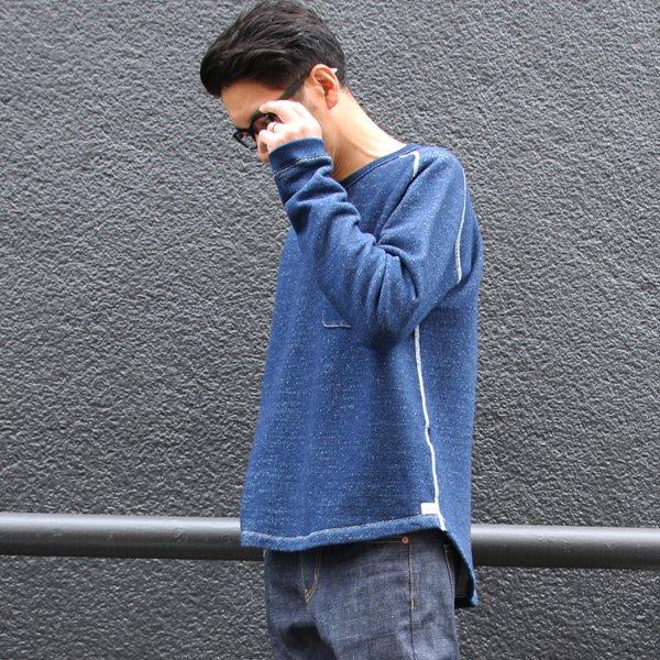 画像2: 本藍染裏毛 サドルショルダー 胸ポケ付 ヘムラウンド L/S スウェット【MADE IN TOKYO】『東京製』/ Upscape Audience