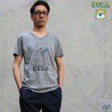 "【RE PRICE / 価格改定】 UCLA""Sleepy Bear""コットン/三素材混カレッジプリント半袖VネックTシャツ / Audience"