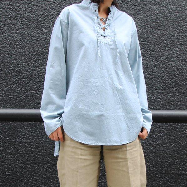 画像2: コットンギャバジンレースアップバンドカラーL/SシャツTEE[Lady's]【MADE IN JAPAN】『日本製』/ Upscape Audience