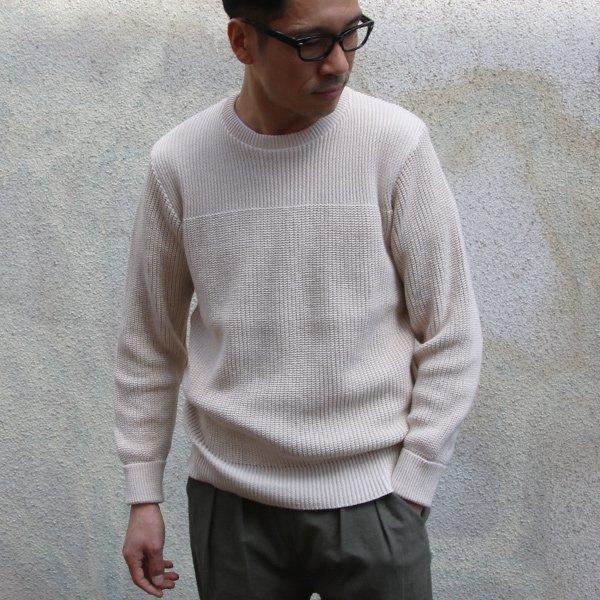 画像2: リブ×アゼ編み C/N コットンニット セーター【MADE IN JAPAN】『日本製』/ Upscape Audience