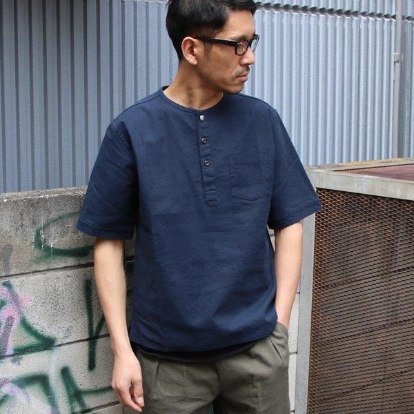 画像2: ソフトリネンコットンキャンバス C/Nヘンリーコンチョ釦 5/Sシャツ【MADE IN JAPAN】『日本製』/ Upscape Audience