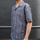 More photos2: シルクライク ブロードストライプ オープンカラーシャツJKT『日本製』/ Upscape Audience