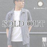 シルクライク ブロードストライプ オープンカラー ルーズフィットシャツ【MADE IN JAPAN】『日本製』/ Upscape Audience