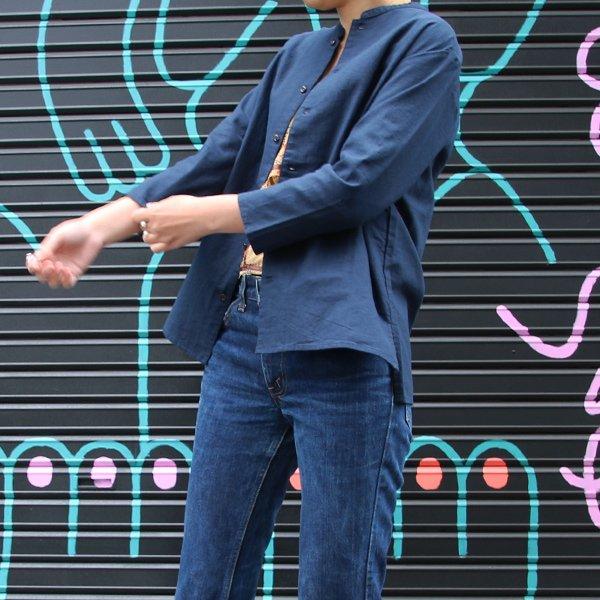 画像2: コットンリネンキャンバスマオカラークォータースリーブジャケット [Lady's] 【MADE IN JAPAN】『日本製』【送料無料】/ Upscape Audience