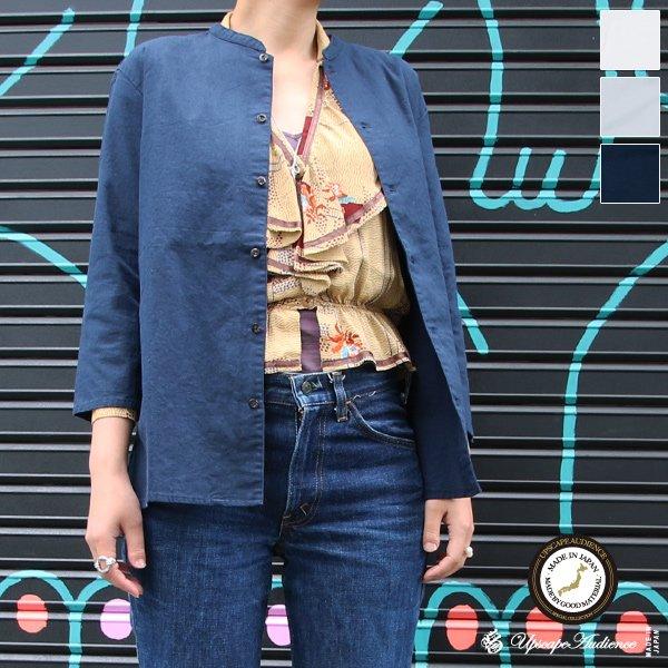 画像1: コットンリネンキャンバスマオカラークォータースリーブジャケット [Lady's] 【MADE IN JAPAN】『日本製』【送料無料】/ Upscape Audience