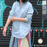 コットンギャバジンレースアップバンドカラーL/SシャツTEE【MADE IN JAPAN】『日本製』/ Upscape Audience