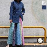 インディゴサッカーストライプバンドカラーオーバサイズロング長袖_Shirts[Lady's] 【MADE IN JAPAN】『日本製』/ Upscape Audience