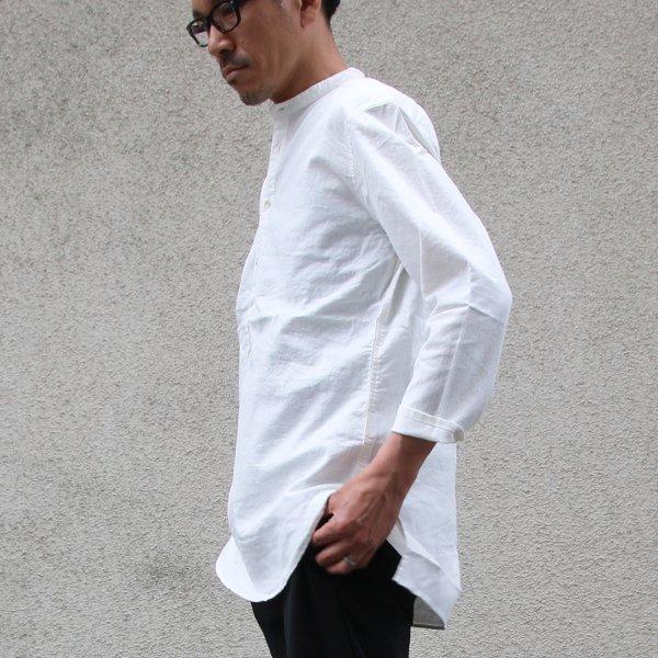 画像2: ソフトリネンキャンバスプルオーバーシャツバンドカラーオーバーサイズ9Sシャツ【MADE IN JAPAN】『日本製』/ Upscape Audience