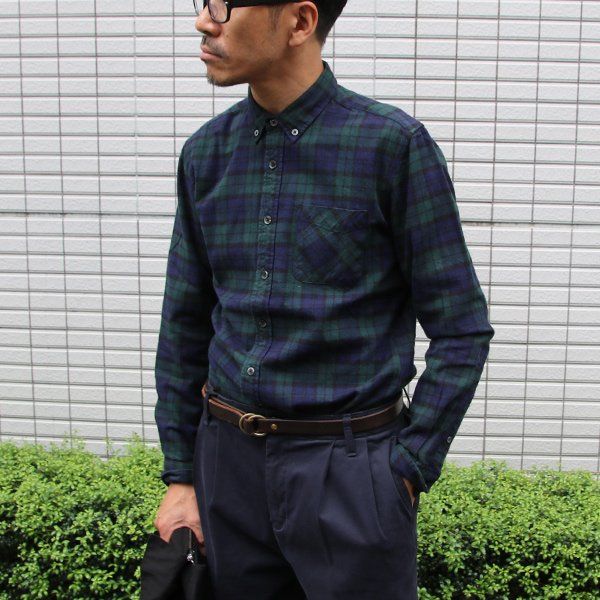 画像2: フランネルチェックチビ衿ボタンダウン長袖_Shirts【MADE IN JAPAN】『日本製』/ Upscape Audience
