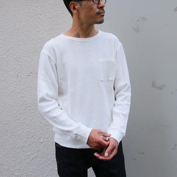 画像2: ランダムワッフル グラスポケット付き C/N L/S ニットソー【MADE IN JAPAN】『日本製』/ Upscape Audience
