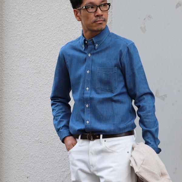 画像2: 麻混デニムナローカラーボタンダウン長袖シャツ【MADE IN JAPAN】『日本製』/ Upscape Audience