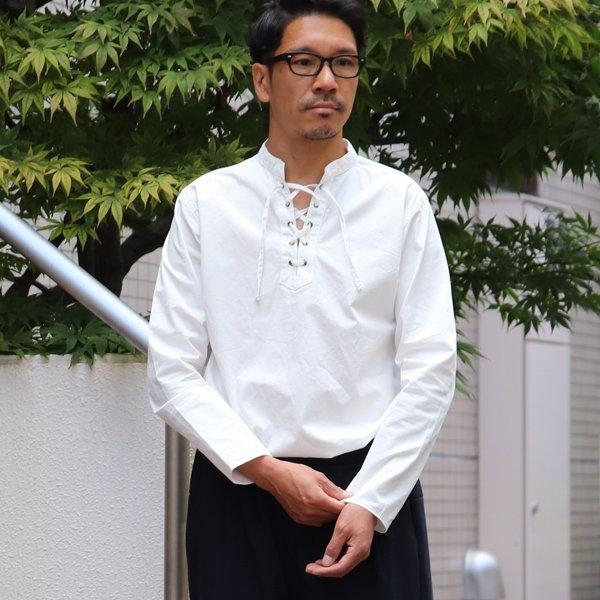 画像2: コットンギャバジンレースアップバンドカラーL/SシャツTEE【MADE IN JAPAN】『日本製』/ Upscape Audience