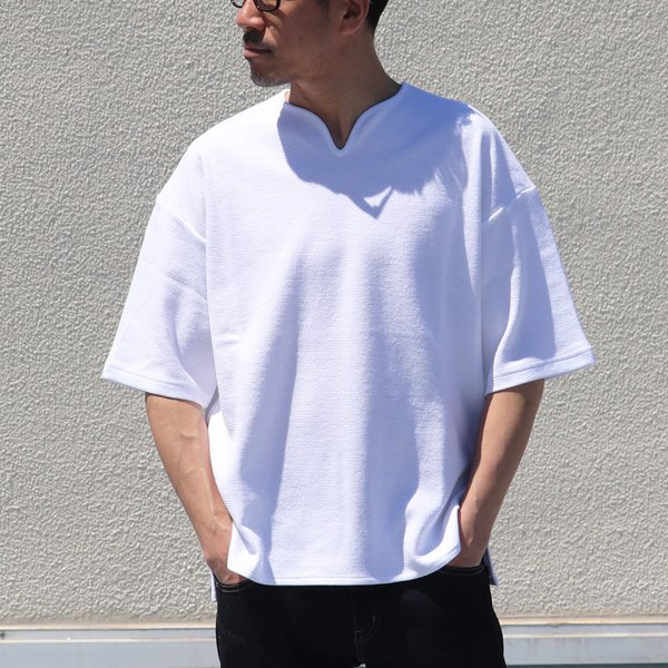 画像2: コットン サマーニット キーネック ビッグTシャツ【MADE IN JAPAN】『日本製』 / Upscape Audience