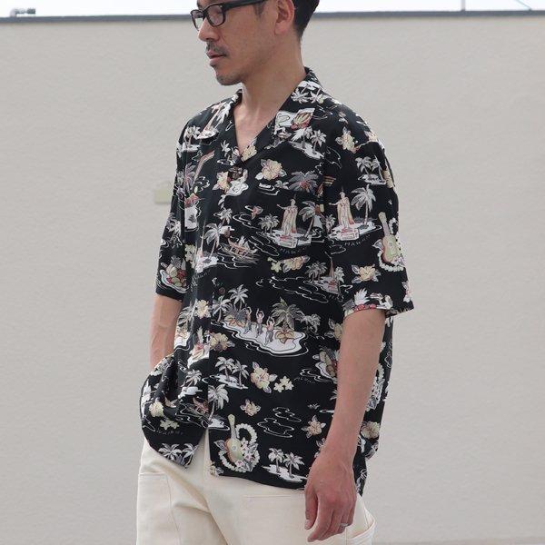 画像2: コットンレーヨン ヴィンテージHAWAII&LEAVES柄  オープンカラー ハーフスリーブシャツ【MADE IN JAPAN】『日本製』/ Upscape Audience