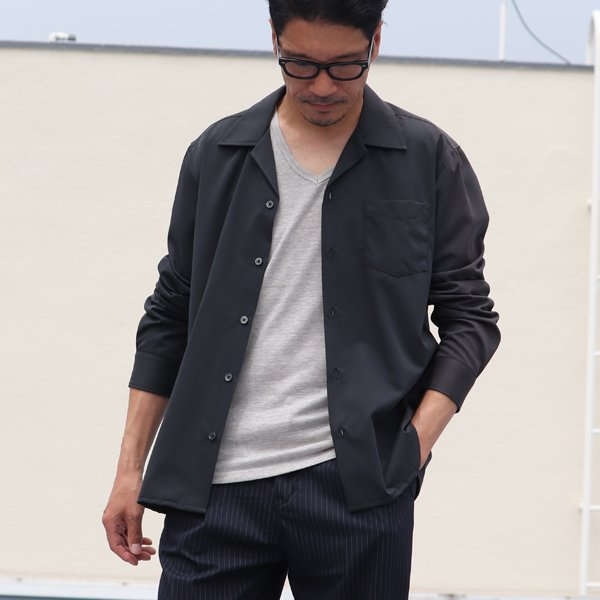 画像2: イージーケアレーヨンポリ オープンカラーL/Sシャツ【MADE IN JAPAN】『日本製』/ Upscape Audience