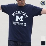 "【RE PRICE / 価格改定】MICHIGAN ""MICHIGAN M WOLVERINES"" C/N S/S 6.6oz オールドプリントT / Audience"