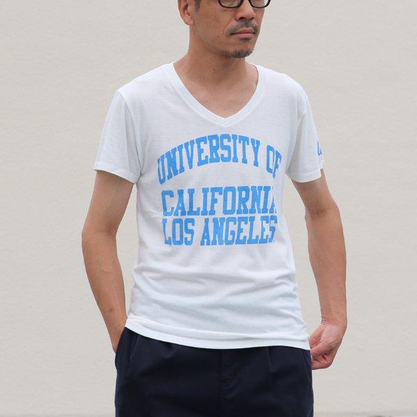 """画像2: 【RE PRICE / 価格改定】 UCLA""""UNIVERSITY OF CALIFORNIA LOS ANGELES""""三素材混カレッジプリント半袖VネックTシャツ / Audience"""