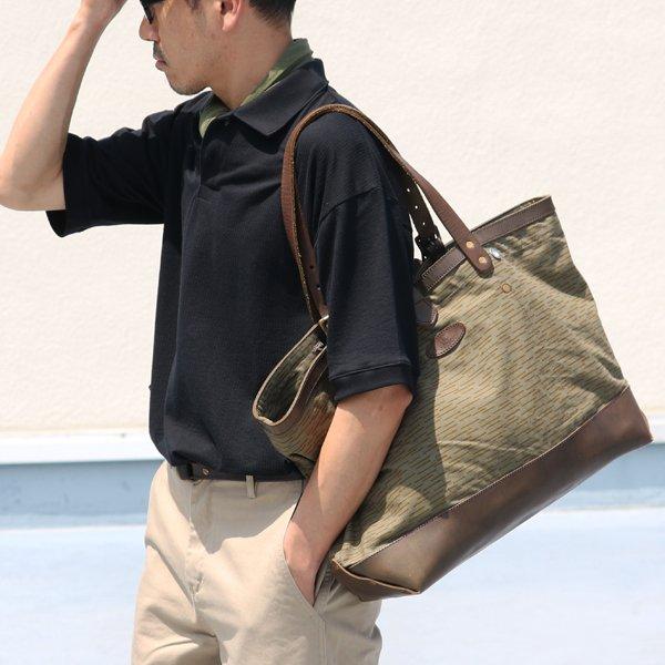 画像2: デッドストックレインカモテント生地×Leather Travel Tote Bag 【送料無料】 / Upscape Audience VASCO