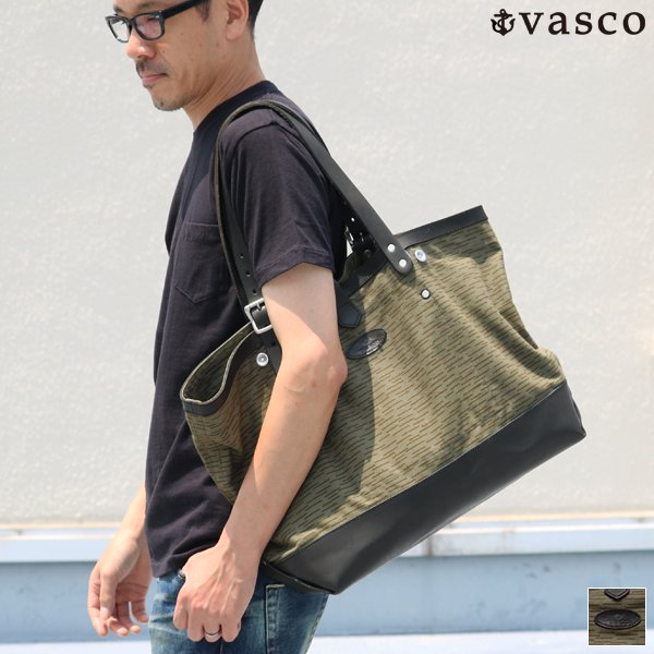 画像1: デッドストックレインカモテント生地×Leather Travel Tote Bag 【送料無料】 / Upscape Audience VASCO