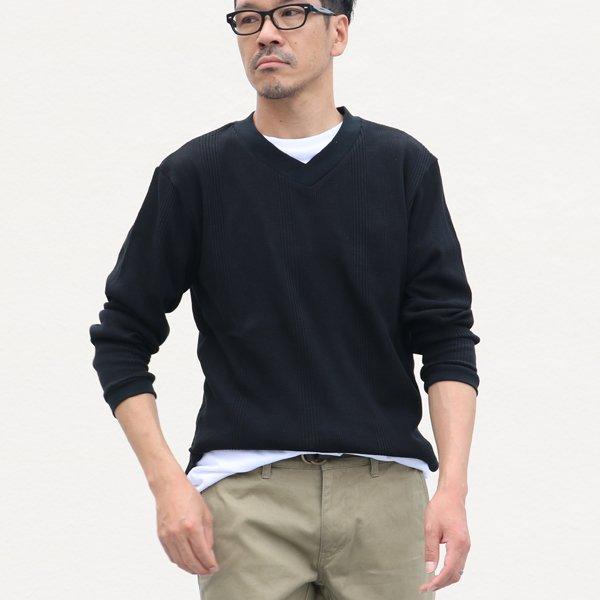 画像2: ランダムワッフル ヘムラウンドVネック L/S ニットソー【MADE IN JAPAN】『日本製』/ Upscape Audience
