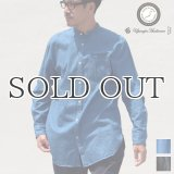 【RE PRICE / 価格改定】麻混デニムオーバーサイズバンドカラーL/Sシャツ【MADE IN JAPAN】『日本製』 / Upscape Audience