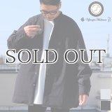70/30クロス ストレッチタイプライター バンドカラー L/S ボクシーシャツ【MADE IN JAPAN】『日本製』/ Upscape Audience
