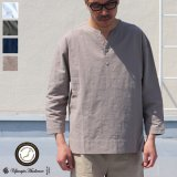 綿麻ビンテージソフトキャンバス C/N スキッパーコンチョ釦 9/Sシャツ【MADE IN JAPAN】『日本製』/ Upscape Audience