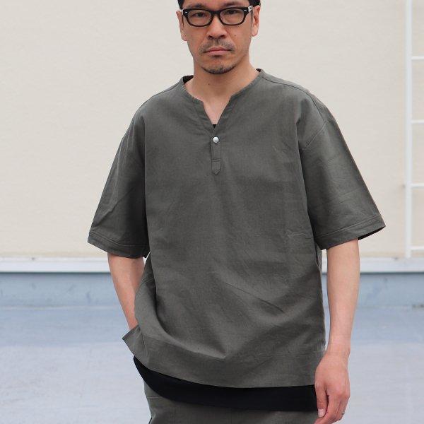 画像2: 綿麻ビンテージソフトキャンバス キーネック コンチョ釦 5/Sシャツ【MADE IN JAPAN】『日本製』/ Upscape Audience